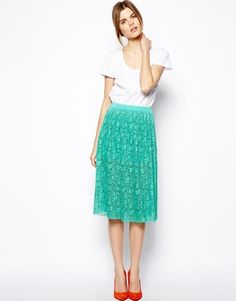 ASOS Midi Skirt In Pleated Lace, in pink burberry-esque NEED