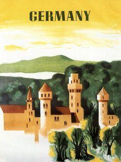 Travel retro poster of Germany