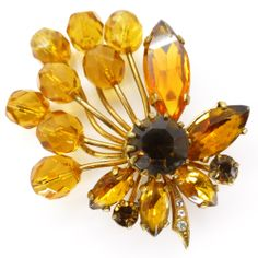 Vintage Amber Glass Floral Ornate Gold Tone Pin Brooch   Clarice Jewellery   Vintage Costume Jewellery