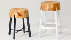 """Objeti, Drop Stools (19"""", 24"""", 29"""" Heights), The Drop Stools are made from a combination of an eco-friendly wood seat and precision machined aluminum legs. The concept for the stools derived from the production of the Soft Tools felt lamps, which uses large wood blocks to hand form their shapes. The wood seats are composed of reclaimed lumber sourced locally thoughout Cleveland, OH. Available in 3 different heights; 19"""", 24"""" and 29""""."""