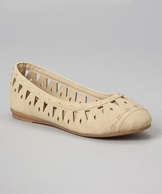Take a look at this Beige Cutout Vera Flat by Anna Shoes on #zulily today!