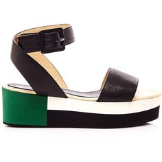 Palomitas Block Sandals (£114) ❤ liked on Polyvore featuring shoes, sandals, black, color block sandals, wide sandals, leather shoes, black shoes and flatform sandals