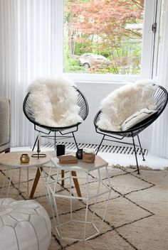 Love these chairs but mine will be in light aqua blue. Furs on top are great