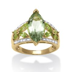 4.83 TCW Marquise-Cut Genuine Green Amethyst and Peridot 18k Gold over Sterling Silver Ring at PalmBeach