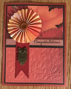 Autumn themed congratulations card with paper pin wheel, embossed leaves detail & owl embellishment...