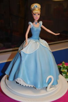 "cinderella doll - DD wanted ""lella dress cake"" for her birtday.  So excited i finally got to use my frill cutter.   doll covered in fondant."