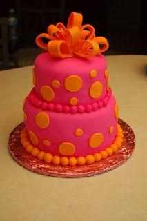 Pink and Orange Birthday Cake