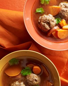 Beef meatballs are paired with sweet potatoes, carrots, and spices in this North African-inspired soup.