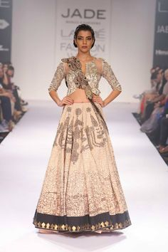 black and beige lehnga by Jade and Monica Karishma at Lakme Fashion Week Winter 2014
