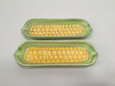 Ceramic Picnic Corn on the Cob Holders Trays Dishes 2 Cradles Gibson Everyday #Gibson