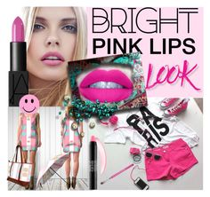 """""""BRIGHT PINK LIPS LOOK"""" by annabelle-h-ringen-nymo on Polyvore featuring beauty, NARS Cosmetics, GURU and MAKE UP FOR EVER"""