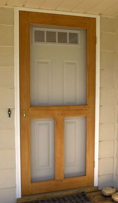 Screen Door plan, is a step by step instructions on how to build a screen door. - I like the look of this screen door but maybe with more muted wood? Ideas Para Trabajar La Madera, Bois Diy, Home Repairs, Home Projects, Woodworking Projects, Woodworking Plans, Woodworking Equipment, Woodworking Shop, Diy Furniture