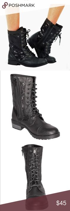 Black sequin dance combat boot Black sequin dance combat boot.  Non-marking flexible sole, side zipper for easy on and off, toe guard to prevent chaffing, striking side sequin panels, hottest and best-selling boot in the industry. GIA MIA Shoes Combat & Moto Boots