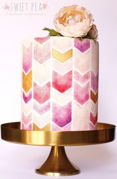 Springtime This spring themed bridal shower cake incorporated a beautiful palette of peach, pinks, purples and gold, stenciled onto an. Gorgeous Cakes, Pretty Cakes, Amazing Cakes, Unique Cakes, Elegant Cakes, Chevron Cakes, Geometric Cake, Single Tier Cake, Wedding Cakes With Flowers