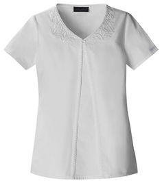 Baby Phat Embroidered V-Neck T in White Fabric: Brushed Cotton/Poly Poplin $27.99 #scrubs #nurses #doctors #medicaloutlet #babyphat Baby Phat Scrubs, White Fabrics, V Neck Tops, Poplin, Work Wear, Tunic Tops, Nursing Board, Mens Tops, Cotton