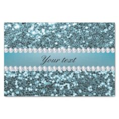 Pretty Blue Faux Glitter and Diamonds Tissue Paper - glam gifts unique diy special glamour