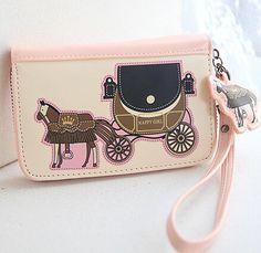 2015 Pink Princess Horse Women Carriage Coin Long Fashion Leather PU Women's Purses Key Phone Bag Wallet Card Passort Money Clip