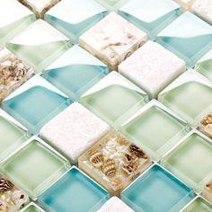 blue color crystal glass mixed sea shell mosaic for kitchen backsplash tile bathroom shower hallway wall mosaic hallway walls Glass Tile Backsplash, Glass Mosaic Tiles, Kitchen Backsplash, Backsplash Ideas, Mosaic Wall, Mosaic Bathroom, Bathroom Wall, Glass Bathroom, Bathroom Showers