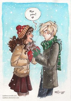 """It's finally getting warmer and I'm uploading a winterly Dramione picture… -_-My sister and I bought each other gingerbread hearts last winter which said """"bastard"""", so..."""