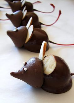 Chocolate Cherry Mice....Twas the night before Christmas, when all through the house  Not a creature was stirring, not even a mouse.
