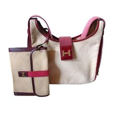 Hermes canvas shoulder tote with leather trim and attache - $950.