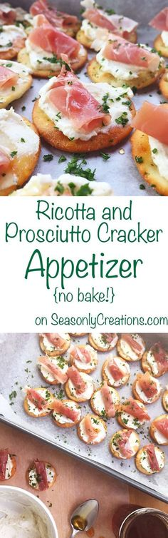 Ricotta and Prosciutto Cracker Appetizer recipe, perfect for your next holiday party! This is a no-bake recipe that costs under $10 and takes less than 20 minutes to make. Wow holiday party goers with creamy ricotta, prosciutto and a light honey drizzle over every cracker. Click through for the full recipe! | http://SeasonlyCreations.com | @SeasonlyBlog