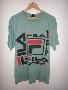 798bfc3f On Sale 25% Off Rare Vintage Fila Hip Hop Swag T Shirt Rap Made in Usa  Tennis Big Logo Nice Design F