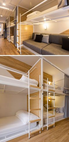 In this modern Bangkok hostel, the dormitory rooms have been set up with bunk beds, each with individual privacy curtains. Double Deck Bed, Double Bunk Beds, Bunk Beds Built In, Bunk Beds With Stairs, Dormitory Room, Bunk Bed Rooms, Small Lounge, Bunk Bed Designs, Hostel
