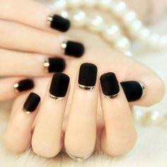 +80 Diseños de uñas decoradas color negro | Decoración de Uñas - Nail Art - Uñas decoradas - Part 5