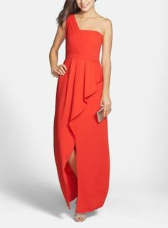 Red hot one-shoulder peplum gown for prom!