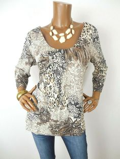 255f5cf83864ac CHICO S Sz 2 Womens Top L Casual Shirt Stretch Print Pleat Detail 3 4  Sleeves  Chicos  Blouse  Casual