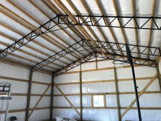 Diy Projects Garage, Pole Barn Garage, Steel Trusses, Little Barn, Garage Shop, Staircase Design, New Shop, Shop Ideas, Shed