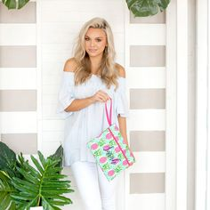 Sometimes the right clutch is all that it takes to pull an outfit together! Whether you are planning a night out with your favorite bridesmaids or getting ready together the morning of your big day, this zippered bag is the perfect size to hold everything you need. Women's Wristlets, Monogram Clutch, Party Gift Bags, Pineapple Pattern, Personalized Bridesmaid Gifts, Wet Bag, Have Time, Cosmetic Bag, Pink And Green