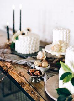 wedding cakes - photo by Connie Whitlock Photography http://ruffledblog.com/industrial-modern-colorado-wedding-inspiration
