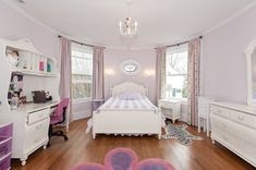 Cute white and purple themed girls room