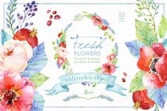 Clip Art Wedding Invitation Watercolor Clip Art Flowers = LOVE. These are so good! Pocket Scrapbooking / Project Life / Journaling / Memory Keeping