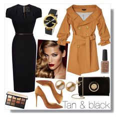 """""""Tan and black"""" by lavandel ❤ liked on Polyvore featuring Charlotte Tilbury, Roland Mouret, Christian Louboutin, Versus, Gucci and tanandblack"""