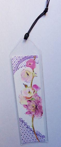 Original Watercolor Bookmark - Plum Blossoms by RaissasArtmarket on Etsy