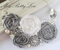 Silver Rhinestone and Pearls with Duponi roses