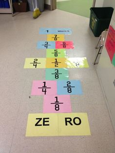 Fractions- this would be great to put at the doorway into or out of the classroom to make the kids hop on and practice their equivalent fractions