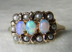 Opal Engagement Ring 1800s Victorian Opal by LoveAlwaysGalicia