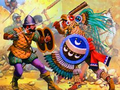 Spanish Conquistador fighting against an Aztec Eagle Warrior during the Spanish conquest of the Aztec Empire in 1521 Old Warrior, Aztec Warrior, Conquistador, Aztec Empire, Ancient Aztecs, Inka, Aztec Art, Mexican Art, Artwork