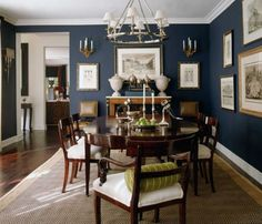 Dining Room Dark Blue Chairrail
