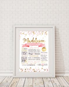 First Birthday Poster, Gold Pink Confetti Milestone Board, Baby Girls First…