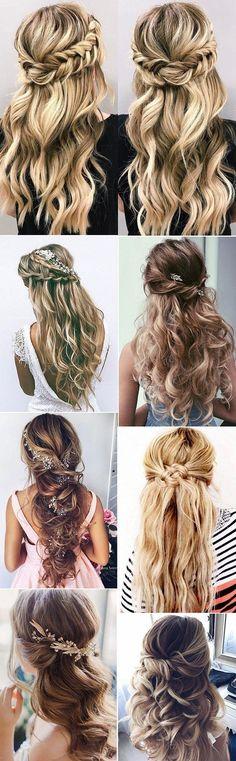 chic half up half down wedding hairstyles ideas