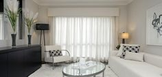 padded upholstered pelmet with sheer curtains