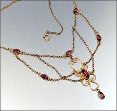 Antique Gold Edwardian Necklace Amethyst Glass Vintage by boylerpf, $135.00