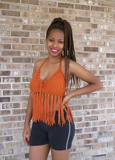 Incredibly Sexy Hand Crochet Fringe Halter by OffThaHookCrochet