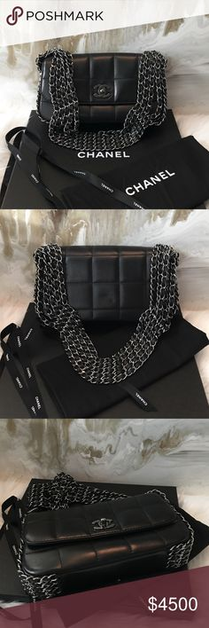 "$6k RARE Chanel 5 Chain Black Quilted Flap Bag Authentic Chanel Black Five Chain Flap Bag. This is extremely rare find, especially in the condition it is in!  Black Quilted Lambskin leather featuring 5 silver tone chains along the side and portion of the bottom. Adds edge to the classic Chanel Flap Bag!! This originally retailed for approx $6,000 when it first debuted. Now hard to find in great condition. Very minimal signs of use. With box & dustbag!  10.2"" x 6.3"" x 2"". Will come with an…"
