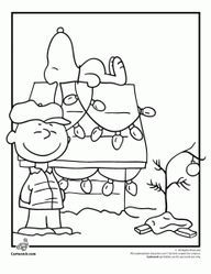 Charlie Brown Christmas Coloring Pages | Charlie Brown Christmas Coloring Page with Snoopy. www.cartoonjr.com